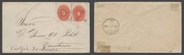 MEXICO. 1894 (7 Dic). Noria De Los Angeles - Zacatecas (8 Dic). Fkd Env Nurals 4c + 6c Intense Red Boxed Franco Ex-Evans - Mexico