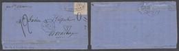 VENEZUELA. 1876 (19 Ago). Caracas - France. EL Full Text Incl 1/2 R Rose, Tied Oval + 0 Nulled Via French P Agent At La - Venezuela