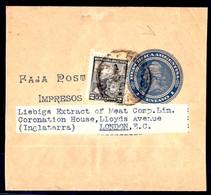 Argentina - Stationery. 1910. BA - UK. 1c Stat Wrapper 2c Adtl Cds. Fine. - Ohne Zuordnung
