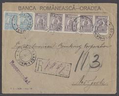 ROMANIA. 1926 (18 June). Oradea / Mare - USA / NY (7 July). Reg Multifkd Env Bearing 1l Violet Strip Of Five 7,5r Pair C - Rumänien