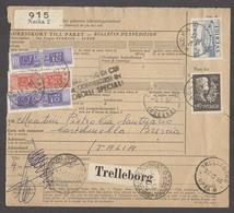 Italy - XX. 1956 (24 Oct). Sweden / Nacka - Brescia / Italy. Reg Fkd Postal Package + Tied Italian P Dues Arrival 140 Li - Italien