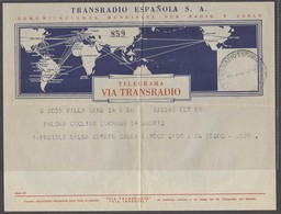 E-SAHARA. 1958 (14 June). Villa Bens - Madrid. Telegrama Enviado Incl Imposible Salida Correo Cansa Siroco (el Viento Lo - Spanien