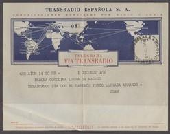 E-SAHARA. 1958 (1 July). Aiun - Madrid. Telegrama Indicando Salida Sin Conocer Punto Llegada. Guerra Del Sahara. Situaci - Spanien