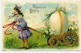 JOYEUSES PAQUES - Fillette Tirant Un Oeuf Sur Un Chariot - - Pâques