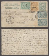 PARAGUAY. 1909 (23 Jan). Asuncion - UK / Leeds (19 Feb). 2cts Green Stat + 4 Adtl Stamps / Mixed Issues Incl 1908 Ovptd - Paraguay