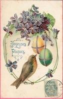 """CPA Gauffrée Et Argentée """"Joyeuses Pâques"""" TRADE KopalC - MARK. 614. Cachet 1906 - Pâques"""