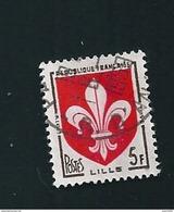 N° 1186 Armoiries De Ville Lille  TIMBRE FRANCE  Oblitéré 1958 E De Lille Bouché - Varietà E Curiosità