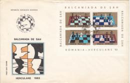 GAMES, CHESS, BAILE HERCULANE BALKAN GAMES, COVER FDC, 1984, ROMANIA - Scacchi