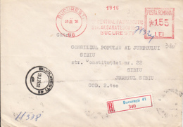 AMOUNT 1.55, BUCHAREST, PHARMACY DEPOSIT, RED MACHINE STAMPS ON REGISTERED COVER, 1978, ROMANIA - 1948-.... Républiques