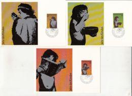 CHILDRENS, INTERNATIONAL DAY OF THE CHILD, CM, MAXICARD, CARTES MAXIMUM, OBLIT FDC, 3X, 1979, LIECHTENSTEIN - Autres