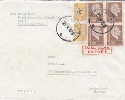 TÜRKEI EXPRESSBRIEF 1975 - 6 Fach Frankierung Auf Express-Brief V. Bursa - Traunstein - 1921-... Republik