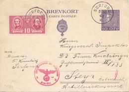 SCHWEDEN 1942 - 10 Ö Ganzsache + 10 Ö Sondermarke Auf Pk, Roter WM-Stempel, Gel.v.Sörforsa - Steyr - Schweden