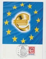 Carte-Maximum SAINT PIERRE Et MIQUELON N° Yvert 700 (EURO) Obl Sp Ill 1er Jour - Cartes-maximum