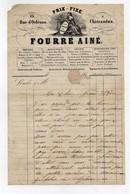 Facture à En-tête Publicitaire Fourré Ainé Mercerie Bonneterie Soierie 13 Rue D'Orléans Chateaudun 19ème Vers 1840 - 1800 – 1899