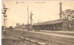 CPA - BELGIQUE - LANDEN - Intérieur De La Gare - 1922 - GARE -  TRAIN - Timbre  COB 183 - Stazioni Con Treni