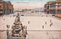 Piazza Unita, Trieste, Italia, 1930, Animata, Viaggiata - Trieste
