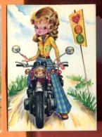 EGG833, Femme Sur Une Moto, Coeur, Pantallon Pattes D'éléphant,illustrateur D. Fracassi, GF,circulée 1976 Sous Enveloppe - Other