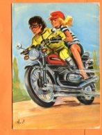 EGG844, Couple Sur Une Moto, Casquette Rouge, Illustrateur Noël, GF,circulée 1978 Sous Enveloppe - Fancy Cards