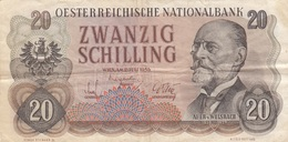 Banknote ÖSTERREICH 20 SCHILLING 1956, Banknote Umlaufschein - Autriche