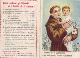 Calendarietto Tascabile I Fratini Di S.antonio E Gli Orfanelli Della Calabria 1960 - Calendarios