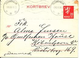 Norway Kortbrev Lettercard Sent To Denmark Trondheim 3-10-1938 - Norway