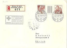 Schweiz Suisse 1949:Zu S59 Mi KZ16E CENT.L.L.ROCHAT FONDATEUR DE LA CROIX BLEUE GENÈVE 26.III.49 BUREAU POSTE AUTOMOBILE - Vins & Alcools
