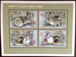 Zambia 1999 Year Of The Rabbit Animals Sheetlet MNH - Lapins