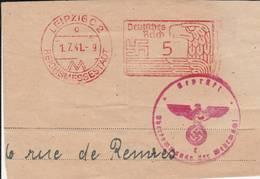 """Cachet  """"REICHSMESSESTADT """"1. 7. 41 LEIPZIG C2  Sur Fragment De Lettre - Briefe U. Dokumente"""