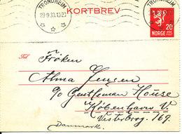Norway Kortbrev Lettercard Sent To Denmark Trondheim 29-9-1938 - Norway