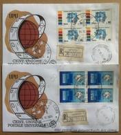 FDC Filagrano Italia 1974 - Quartine Unione Postale Universale - 2 Racc. Viagg. - Francobolli
