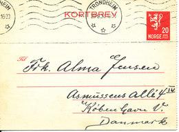 Norway Kortbrev Lettercard Sent To Denmark Trondheim 20-9-1938 - Norway