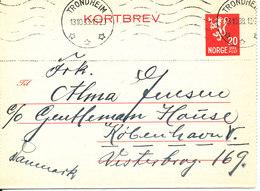 Norway Kortbrev Lettercard Sent To Denmark Trondheim 13-10-1938 - Norway