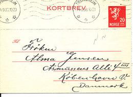 Norway Kortbrev Lettercard Sent To Denmark Trondheim 24-9-1938 - Norway