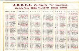 Calendarietto Tascabile A.R.C.E.A. Cartoleria Sl Vicariato 1958 - Calendarios