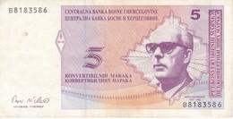 BILLETE DE BOSNIA HERZEGOVINA DE 5 CONVERTIBLE MARAKA DEL AÑO 1998 (BANK NOTE) - Bosnia And Herzegovina