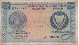BILLETE DE CHIPRE DE 250 MILS DEL AÑO 1973 (BANKNOTE) - Cyprus