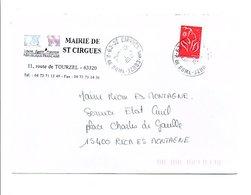 LETTRE DE MAIRIE DE SAINT CIRGUES PUY DE DOME - Marcophilie (Lettres)