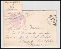 52367 Pyrenees Atlantiques Pau 1918 Hopital Complementaire 36 Sante Guerre 1914/1918 War Devant De Lettre Front Cover - Postmark Collection (Covers)