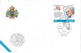 SAN MARINO 1998 - ITALIA 98 - PAPA GIVANNI PAOLO II. - FDC - Storia Postale