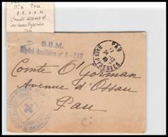 52370 Pyrenees Atlantiques Pau 1918 Hopital Auxiliaire 6 Sante Guerre 1914/1918 War Devant De Lettre Front Cover - Postmark Collection (Covers)