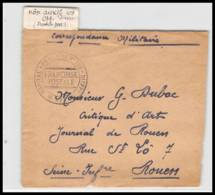 52389 Seine Maritime Dieppe Hopital Auxiliaire 105 Franchise Sante Guerre 1914/1918 War Devant De Lettre Front Cover - Postmark Collection (Covers)