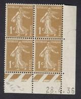 Semeuse 1 C. Bistre En Bloc De 4 Coin Daté - 1906-38 Semeuse Camée