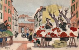 93Maj   Illustrateur Edouard Collin Le Marché Aux Fleurs à Antibes - Illustratori & Fotografie