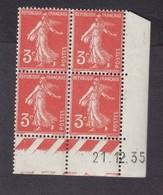 Semeuse 3 C. Orange En Bloc De 4 Coin Daté - 1906-38 Semeuse Camée