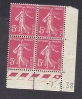 Semeuse 5 C. Rose En Bloc De 4 Coin Daté - 1906-38 Semeuse Camée