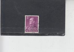 NORVEGIA  1959 - Unificato  389 - Olav V - Norvegia