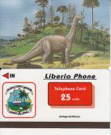 LIBERIA - Dinosaur, Liberia Phone 25 Units, Tirage 50000, Used - Télécartes