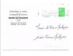 LETTRE DE MAIRIE DE PRADIERS CANTAL - 1961-....