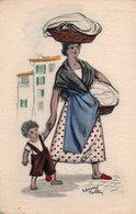 93Maj   Illustrateur Edouard Collin Lavandiere Lessive (pas Courante Colorisée) - Illustrateurs & Photographes