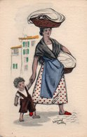 93Maj   Illustrateur Edouard Collin Lavandiere Lessive (pas Courante Colorisée) - Illustratori & Fotografie